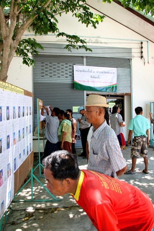 local election: PAYAKKAPHUMPHISAI  JUNE  28 : Villagers check candidate name for representative of farmers reconstruction and development fund on June 28 2015 in Payakkaphumphisai Mahasarakham Thailand.
