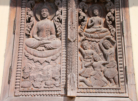 ing: old wooden window at Ing Hang Stupa in Savannakhet of Lao P.D.R.