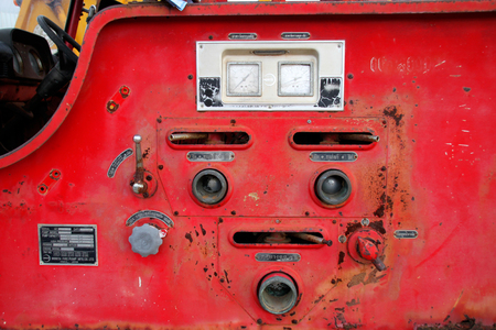 decadent: PAYAKKAPHUMPHISAI, MAHASARAKHAM - August 25 : Decadent control panel of old municipality firetruck that dropped off at parking lots on August 25, 2015 in Payakkaphumphisai, Mahasarakham, Thailand.