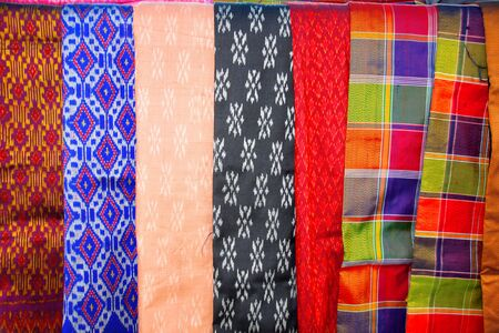 thai silk: local Thai silk clothes background in market stall