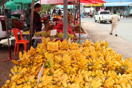 dainty: PAYAKKAPHUMPHISAI, MAHASARAKHAM - SEPTEMBER 2 : Dainty bananas are prepared for retail sale in local fruits market on September 2, 2015 in Payakkaphumphisai, Mahasarakham, Thailand. Editorial
