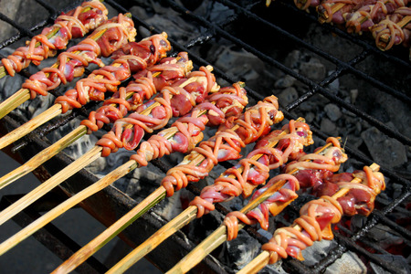 entrails: barbecue entrails chicken at market stall Stock Photo