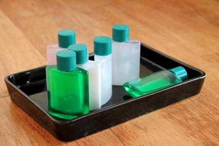 sanitary: sanitary ware set tray on plank floor in the bathroom
