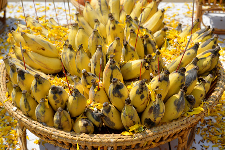 offerings: food offerings for the gods and ghosts of Thai traditional culture Stock Photo
