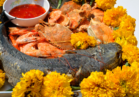 traditional culture: food offerings for the gods and ghosts of Thai traditional culture Stock Photo