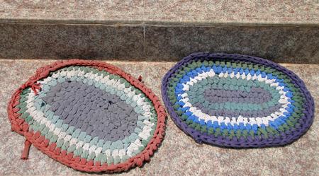 doormat: old foot clothes doormat on the floor