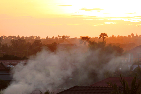 climatology: smoke and sky in the afternoon Stock Photo