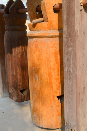place of worship: northeast of Thailand wooden bell generally use in Buddhist temple or worship place