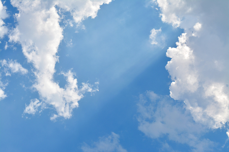 climatology: blue sky and white cloud in clear sunny bright afternoon