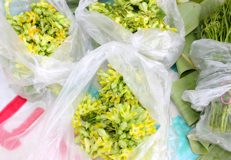 cowslip: pile of cowslip creeper flowers and vegetables in plastic bag at Thai local market stall Stock Photo