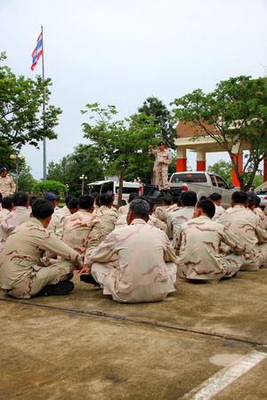 mahasarakham: MAHASARAKHAM - JULY 5 : Members of Volunteer Defense Corps are annual physical fitness tested at provincial city hall on July 5, 2016 in Mahasarakham, Thailand. Editorial