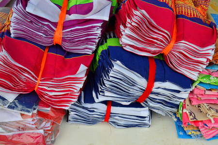 pillow case: Thai handmade pillow case clothes manufactured in rural community Stock Photo