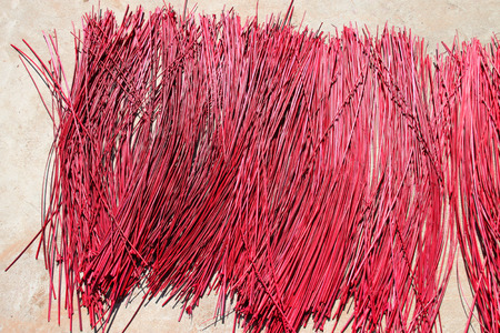 sun dried: red sun dried sedge use as raw materials for weaving handcraft Stock Photo