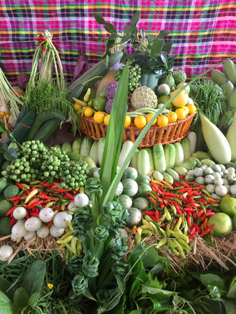 local fruits and vegetables displayed at fresh market Stock Photo