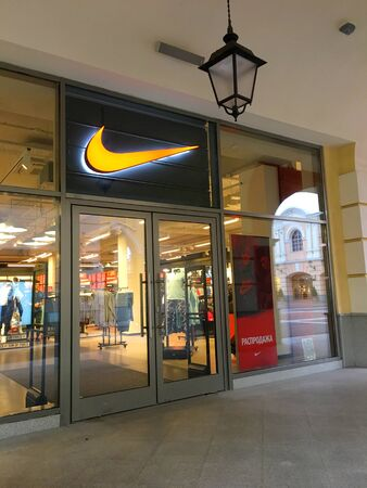 ST. PETERSBURG, RUSSIA - NOVEMBER 7 : Nike factory store at outlet village Pulkovo on November 7, 2018 in St.Petersburg, Russia.