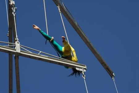 agility people: Aerialist in the sky Stock Photo