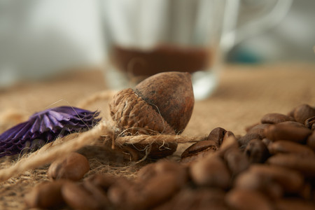 Drink without caffeine, Acorn coffee is a delicious substitute for coffee, without the caffeine. Eco friendly, healthy products concept Stockfoto
