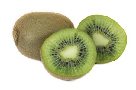 Ripe whole kiwi and half kiwi fruit isolated on white background Reklamní fotografie