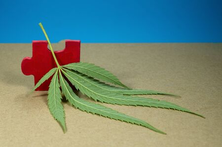 Cannabis leaf and red wooden jigsaw puzzle piece on kraft brown paper Stock Photo