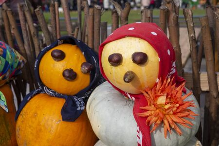 Colorful vegetable couple made from autumn pumpkins and squash with chestnut eyes and bandannas outdoors against a rustic wooden pole fence conceptual of the seasons