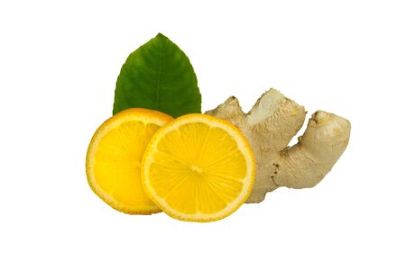Slices of lemon and ginger root isolated on white background