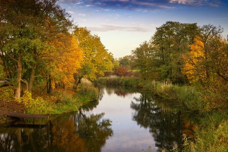 Tranquil colorful autumn landscape with reflections of the surrounding trees in their fall foliage on the water of a lake conceptual of the season Stockfoto