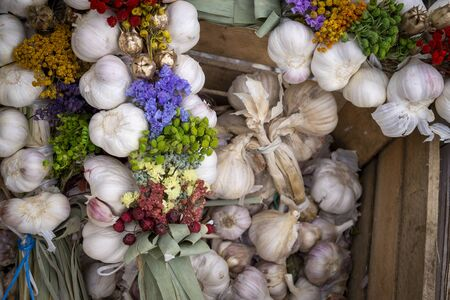 Autumn or fall display with fresh garlic bulbs and bunches of colorful flowers in alternating rows conceptual of the seasons Stockfoto