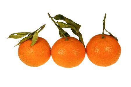Three fresh ripe mandarins oranges with twig and leaves isolated on a white background