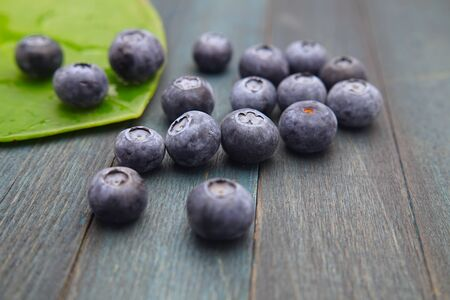 Blueberries and a large round green leaf on an bluish aged wooden surface, low angle view