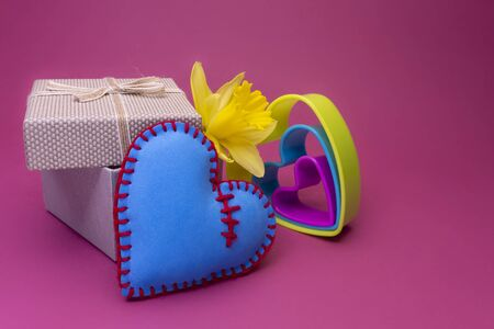 Romantic ValentinesDay still life with nested colorful heart shaped cookie cutters, a spring daffodil and decorative gift on pink with copy space for a message to your sweetheart