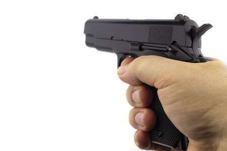 Hand hold gun isolated on white background first person view image