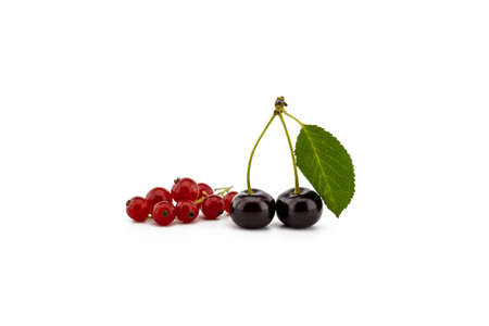 Two ripe cherries with a green leaf and a bunch of red currants isolated on a white background
