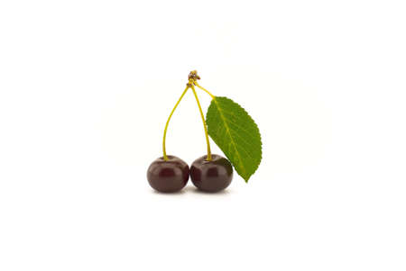 Two ripe cherries with a green leaf isolated on a white background