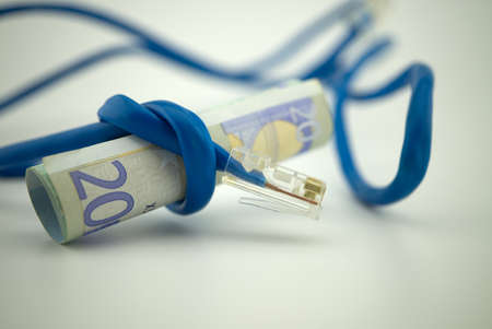 Euro banknote wrapped with computer network cable, internet tax concept