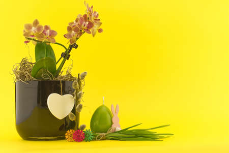Easter Decoration with flowers, egg shaped candle, willow branch and bundle of wheat seedlings over a yellow background. Happy Easter card concept with free copy space for text