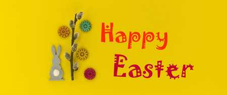 Banner. The minimal concept of Easter with Easter Bunny figure and willow branch on yellow color background with text