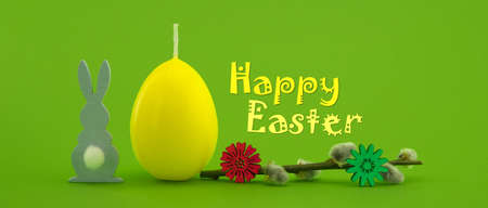 Easter holiday banner with yellow egg shaped candle, willow branch and Easter Rabbit figure over a green background with text