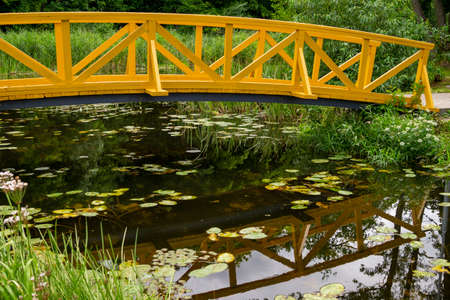Arched wooden pedestrian bridge curving away and reflections in pond water 스톡 콘텐츠