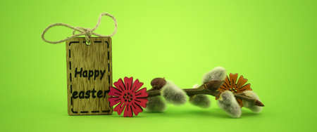 Minimalistic style Easter banner and wooden label with text