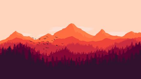 森の山の夕日の風景モノクロ背景