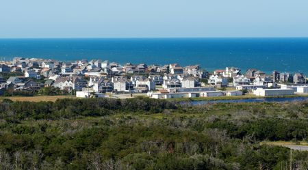 Panoramic view on Buxton from Cape Hatteras Lighthouse. Outer Banks, NC 版權商用圖片