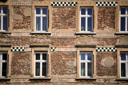 old windows in the jewish quarter in krakov, poland, europe photo