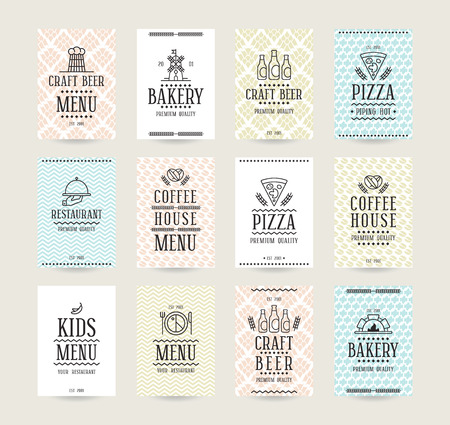 placards: Set of vector poster templates for bakery, cafe, restaurant, pizzeria and craft beer. Templates for flyers, posters and placards