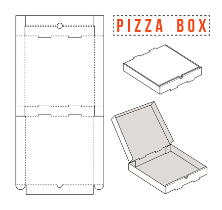 Stock vector box for pizza. Unwrapped and 3d image Illustration