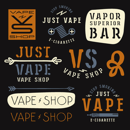 vapor: Vapor bar and vape shop labels. Color print on black background