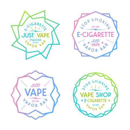 vapor: Vapor bar and vape shop labels. Color  print on white background Illustration