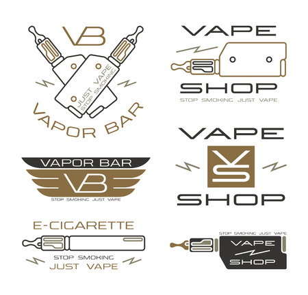 vapor: Vapor bar and vape shop in thin line style. Color print  on white background