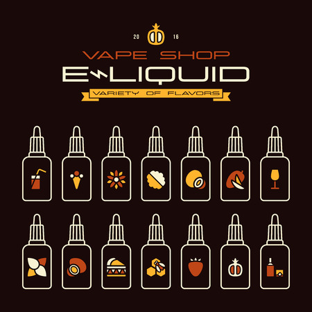 eliquid: Vape shop e-liquid flavors icons set in flat style. Color print on black background Illustration