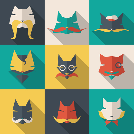 Icons set: character cats. Long shadow