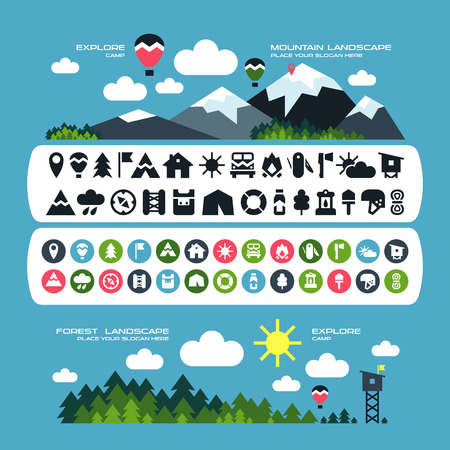 locations: Set of camping icons and landscape banners in flat style. Mountain and forest locations Illustration
